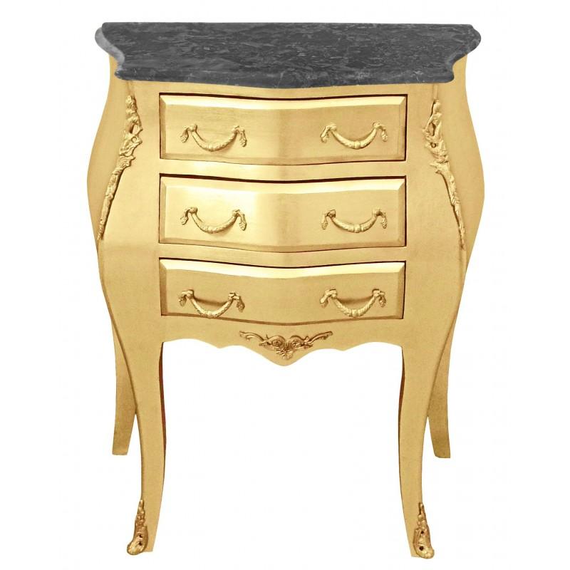 table de nuit chevet commode baroque bois dor plateau marbre noir. Black Bedroom Furniture Sets. Home Design Ideas