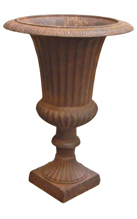 Medici Vase ribbed cast iron rust colored patina