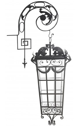 Large outdoor wrought iron lantern