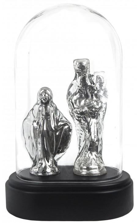 Vierges présentées sous globe en verre