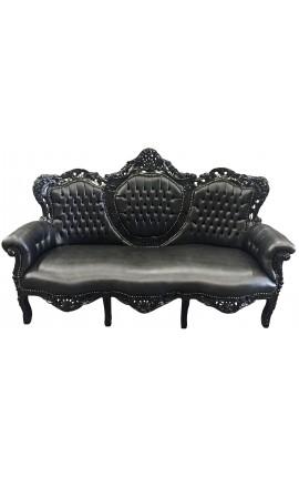 Canapé baroque tissu simili cuir noir et bois noir
