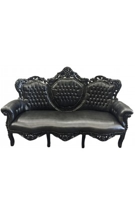 Baroque sofa fabric black leatherette and glossy black wood