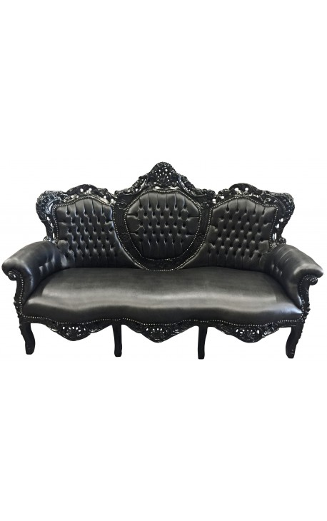 Baroque sofa fabric black faux leather and black wood