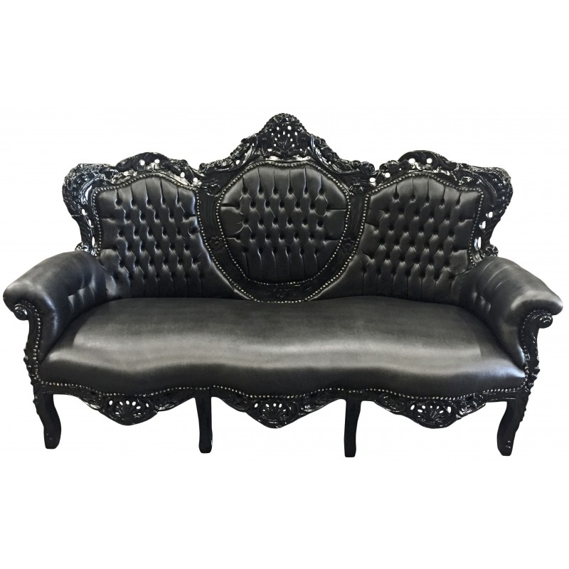 baroque sofa fabric black faux leather and glossy black