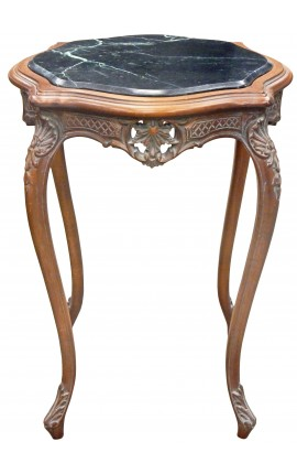 Square table Louis XV style carved mahogany wood with black marble