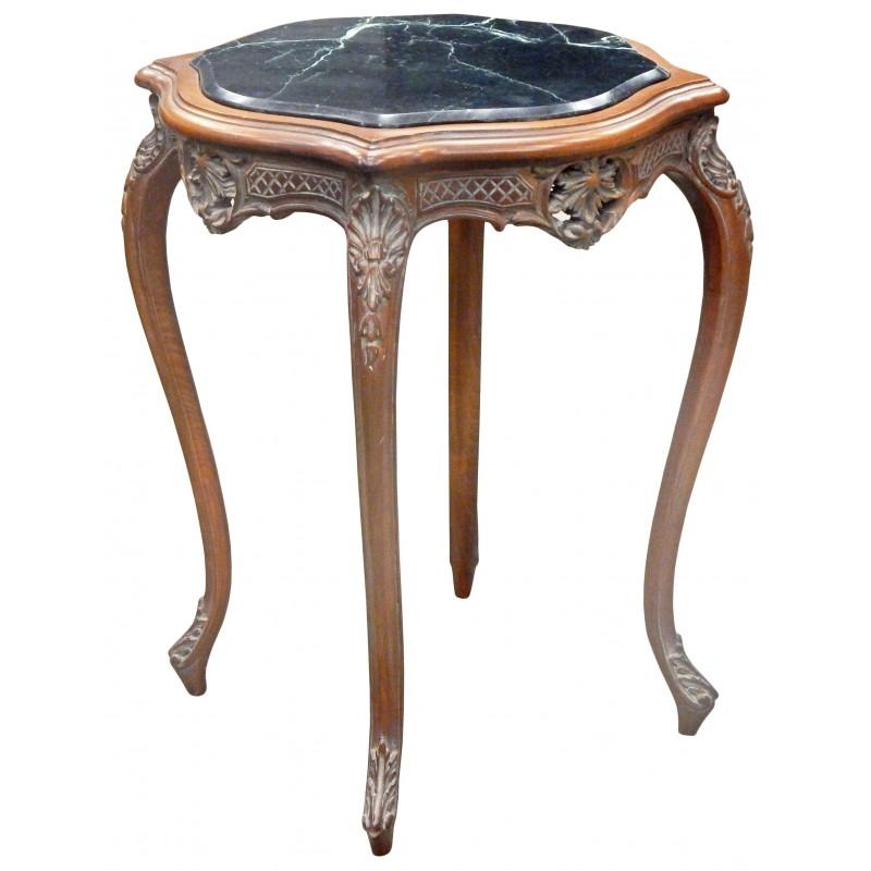 Table Carr E De Style Louis Xv En Bois Sculpt Acajou Avec Marbre Noir