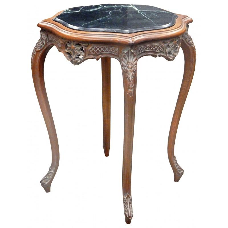 Table carrée de style Louis XV en bois sculpté acajou avec marbre noir