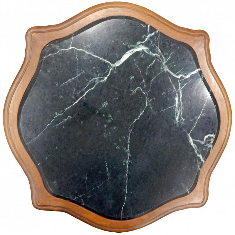 table carr e de style louis xv en bois sculpt acajou avec marbre noir. Black Bedroom Furniture Sets. Home Design Ideas
