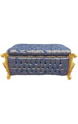 """Grande banquette coffre baroque de style Louis XV tissu """"Gobelins"""" satiné bleu et bois doré"""