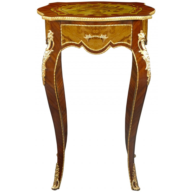 Square table in louis xv style inlaid wood bronze and painted music decorations - Table louis xv ...
