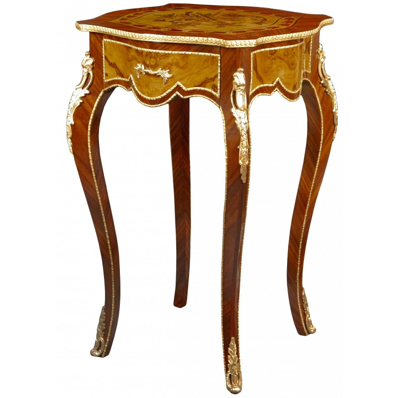 Square Table In Louis Xv Style Inlaid Wood Bronze And