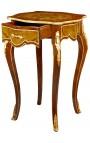 Table carrée de style Louis XV en bois marqueté, bronzes et décors musical peint.
