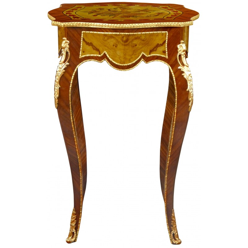 Square table in louis xv style inlaid wood bronze and - Table louis xv ...