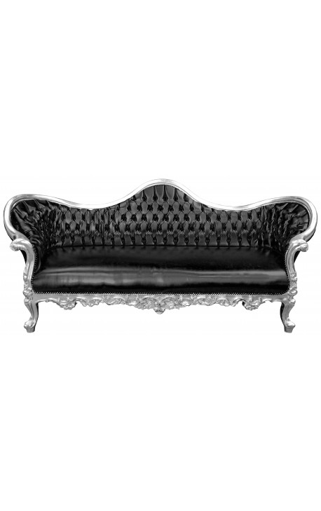 Canapé baroque Napoléon III tissu simili cuir noir et bois argent