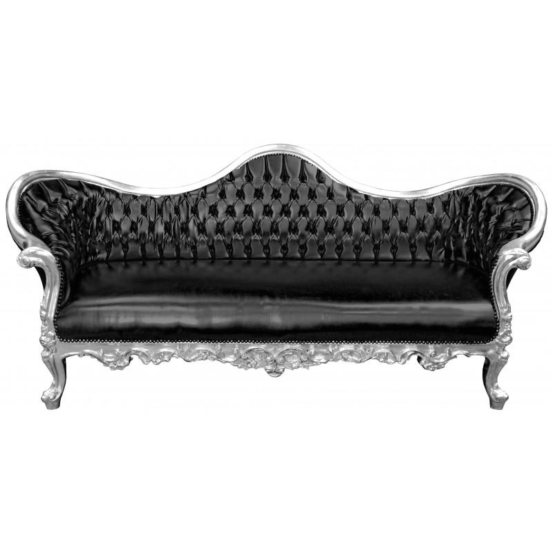 canap baroque napol on iii tissu simili cuir noir et bois. Black Bedroom Furniture Sets. Home Design Ideas