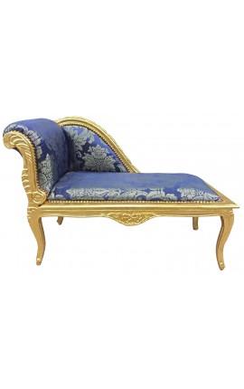 """Méridienne style Louis XV tissu satiné bleu aux motifs """"Gobelins"""" et bois doré"""