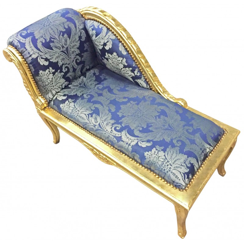 Louis xv chaise longue blue gobelins fabric and gold wood for Chaise baroque