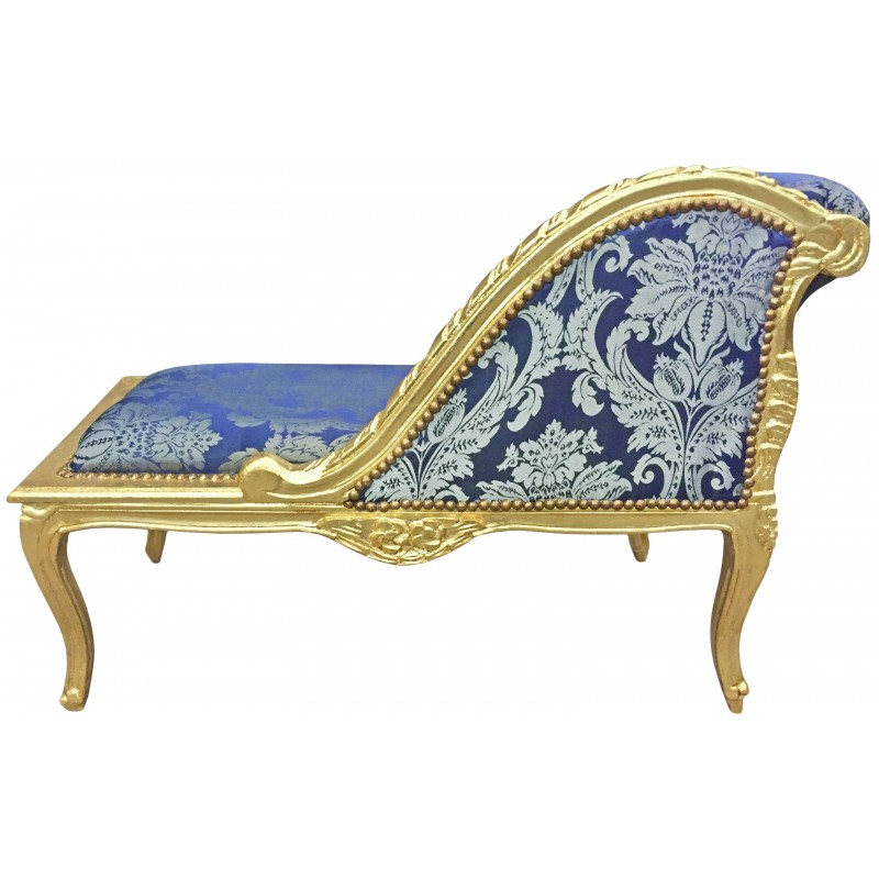 Louis xv chaise longue blue gobelins fabric and gold wood for Blue chaise longue