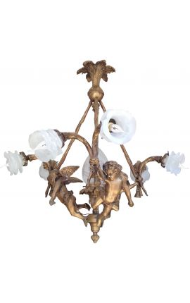 Grand chandelier Napoleon III style with angels and 6 tulips transparent