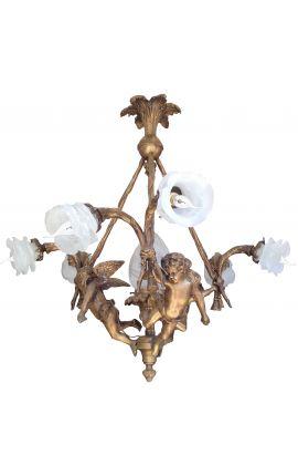 Grand lustre de style Napoleon III avec angelots et 6 tulipes transparentes