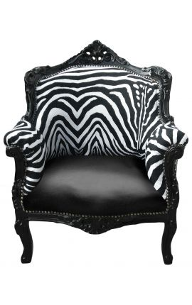 "Armchair ""princely"" Baroque style zebra and black faux lather with black lacquered wood"