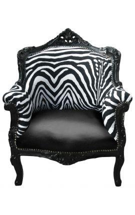 """Кресло """"Княжеский"""" в стиле барокко зебры и черный эпидермис с черной лакированной древесины"""