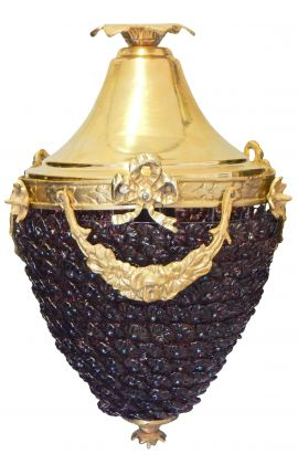 Chandelier purple glass with bronzes
