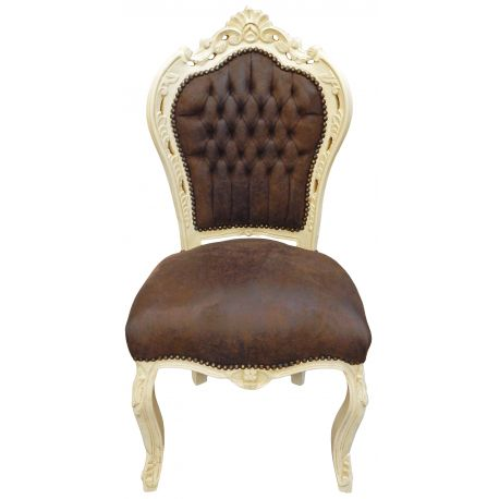 chaise de style baroque rococo tissu chocolat et bois laqu beige. Black Bedroom Furniture Sets. Home Design Ideas
