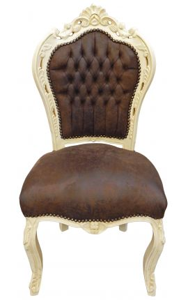 Baroque rococo style chair chocolate suede and beige wood