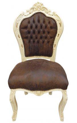 Барокко pококо стиль стул шоколадный цвет и бежевый дерево