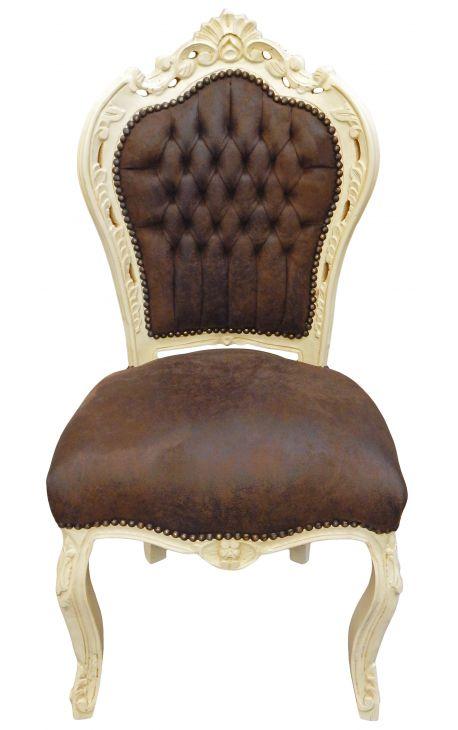 Chaise de style Baroque Rococo tissu chocolat et bois beige