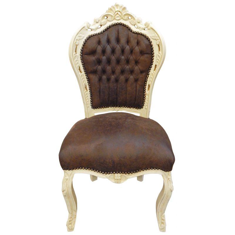 Chaise de style baroque rococo tissu chocolat et bois for Chaise de style