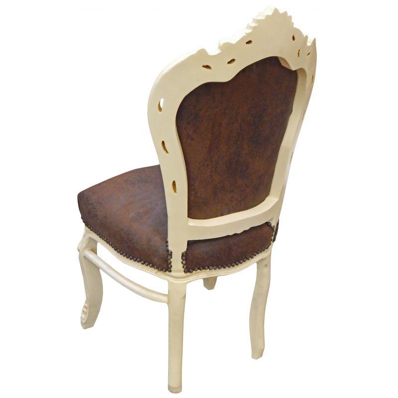chaise de style baroque rococo tissu chocolat et bois laqu beige. Black Bedroom Furniture Sets. Home Design Ideas