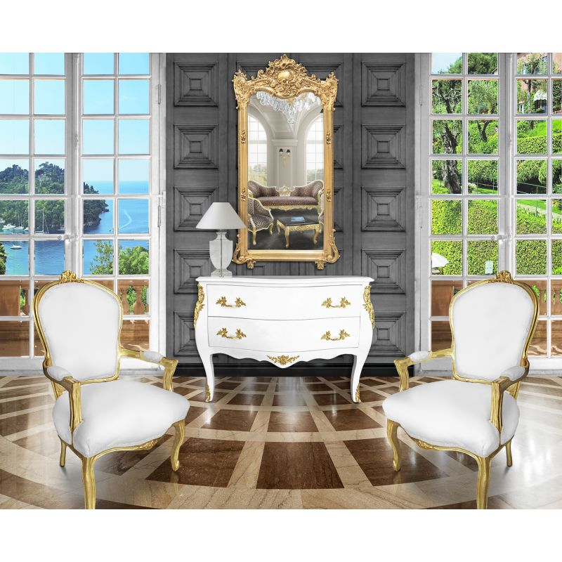 commode baroque de style louis xv blanche 2 tiroirs et bronzes dor s. Black Bedroom Furniture Sets. Home Design Ideas