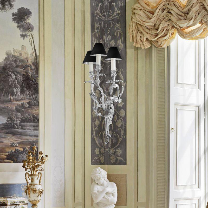 grande applique murale a 3 branches de style louis xv rocaille en bronze argent. Black Bedroom Furniture Sets. Home Design Ideas