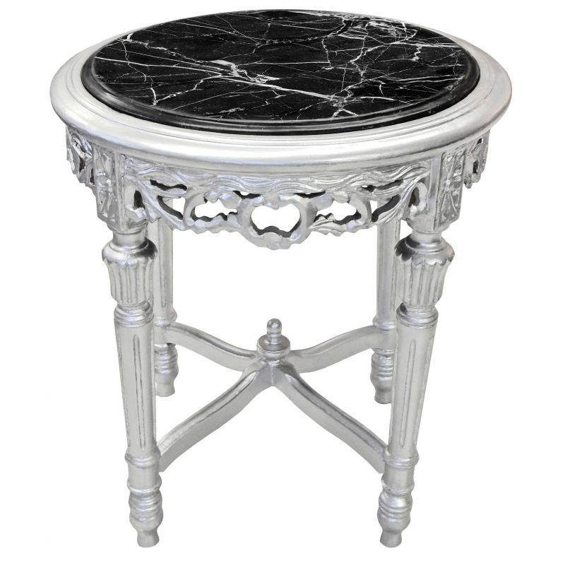 Nice round silvered flower table louis xvi style black marble for Nice table styles