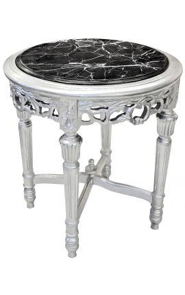 Sellette ronde et argentée de style Louis XVI avec marbre noir