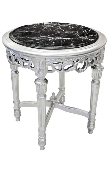 Round Louis XVI style black marble side table with silver wood