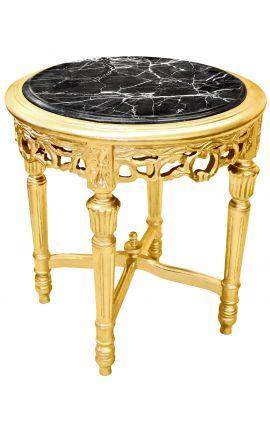 Sellette ronde et dorée de style Louis XVI avec marbre noir
