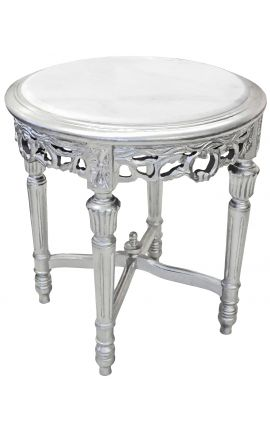 Beautiful flower table silver wood Louis XVI style white marble