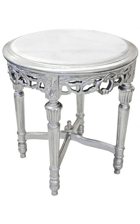 Sellette ronde et argentée de style Louis XVI avec marbre blanc