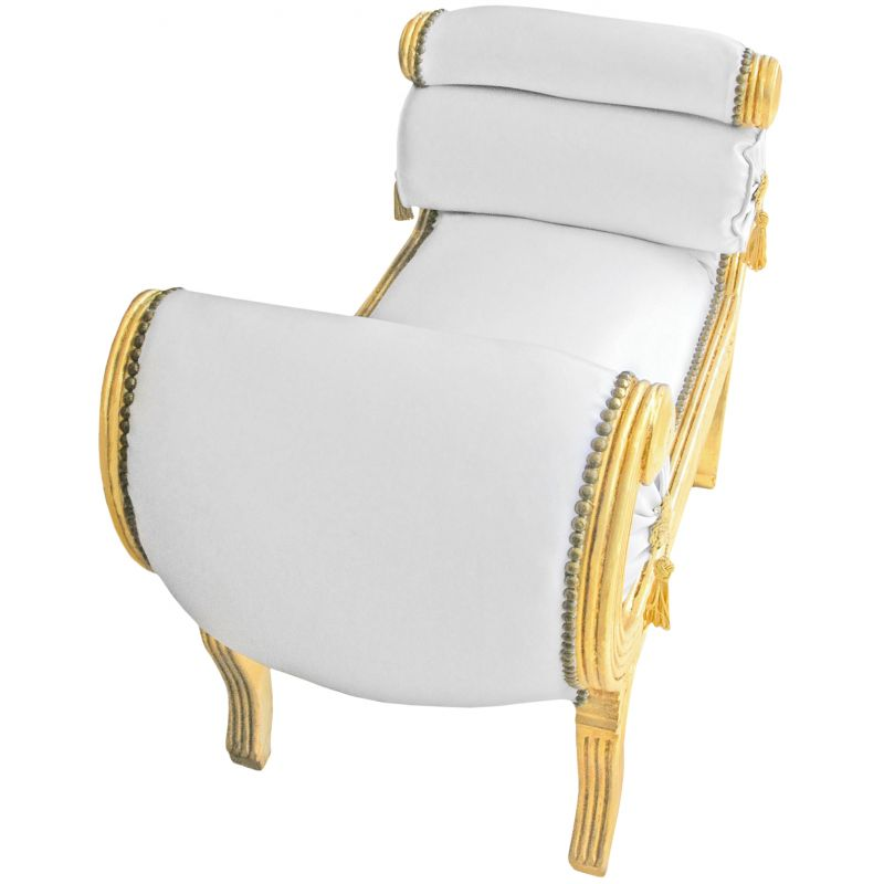 banquette romaine tissu simili cuir blanc et bois dor. Black Bedroom Furniture Sets. Home Design Ideas