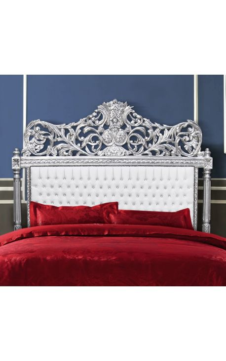 Baroque headboard false leather white fabric and rhinestones with silvered wood