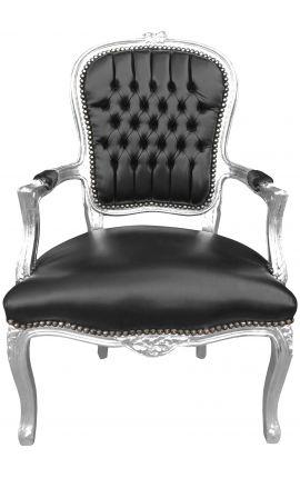 Fauteuil Louis XV de style baroque simili cuir noir et bois argent