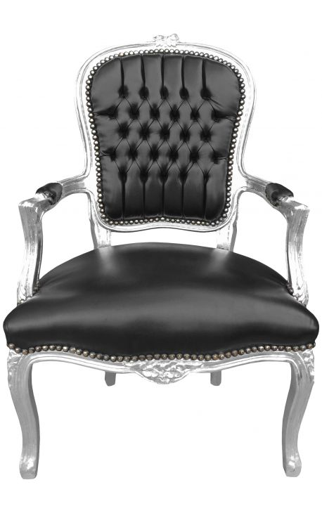 Baroque armchair of style Louis XV black faux leather and silver wood