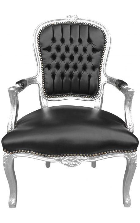 fauteuil baroque de style louis xv simili cuir noir et bois argent. Black Bedroom Furniture Sets. Home Design Ideas