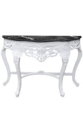 Baroque console with white lacquered wood and black marble