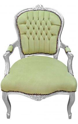 Fauteuil Louis XV de style baroque velours vert anis et bois argenté