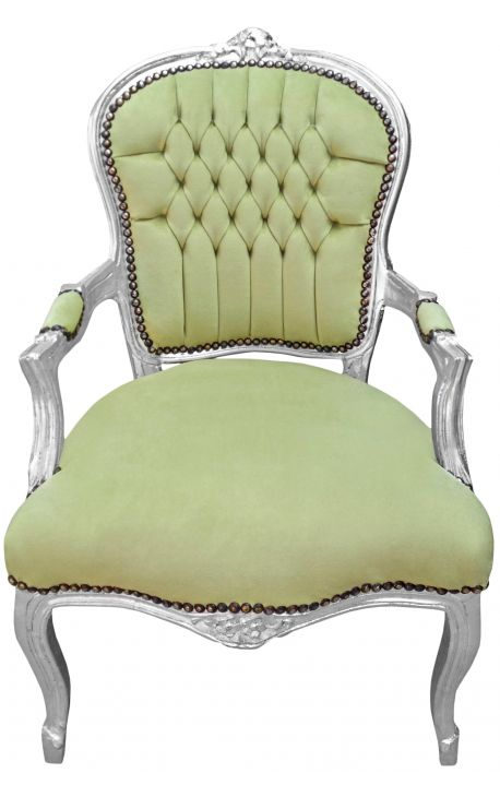 Baroque armchair of Louis XV style green and silvered wood