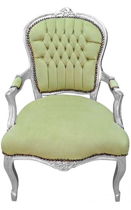 Fauteuil baroque de style Louis XV vert anis et bois argenté